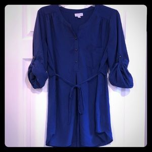 Royal blue roll sleeves, tie string, 3 button top